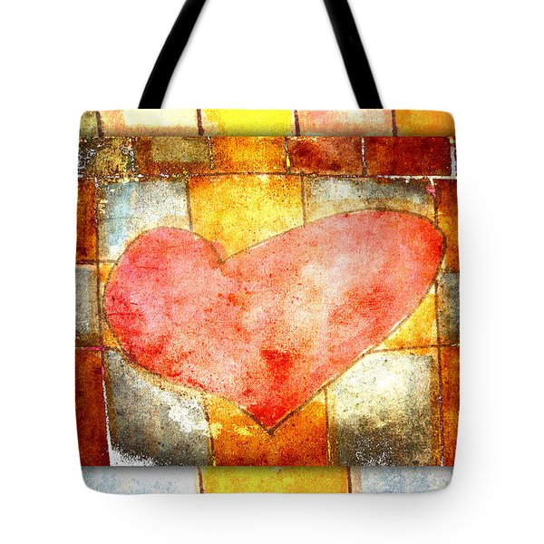 Squared Heart Tote Bag by Carol Leigh