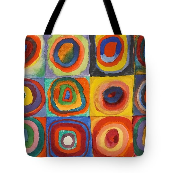 Squares With Concentric Circles Tote Bag