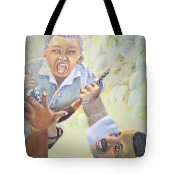 Tote Bag featuring the painting Squeals Of Joy by Saundra Johnson