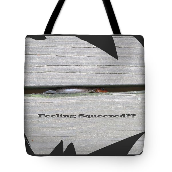 Tote Bag featuring the digital art Squeezed by Kathleen Illes