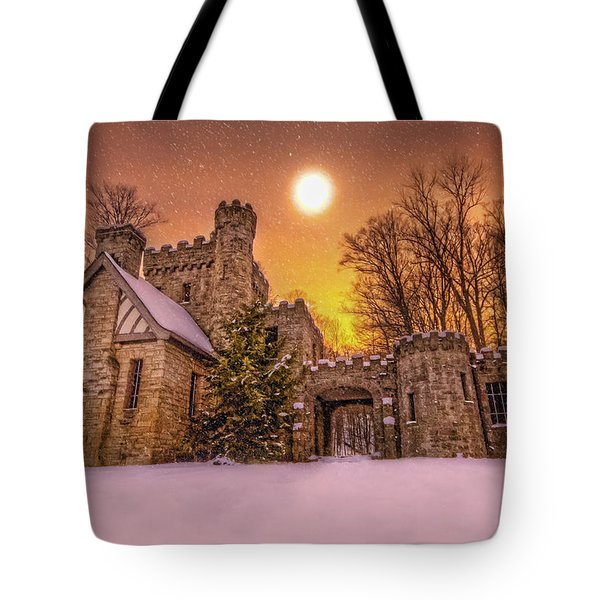 Squires Castle In The Winter Tote Bag by Brent Durken