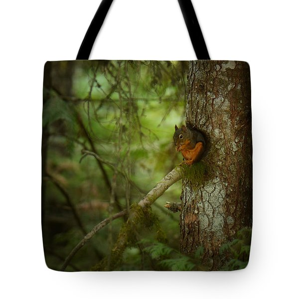Tote Bag featuring the photograph Squirrel Breaks The Silence by Lisa Knechtel