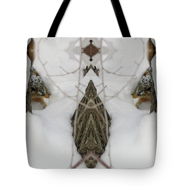 Squirrel Faces Peeking Out From A Snowy Den Tote Bag