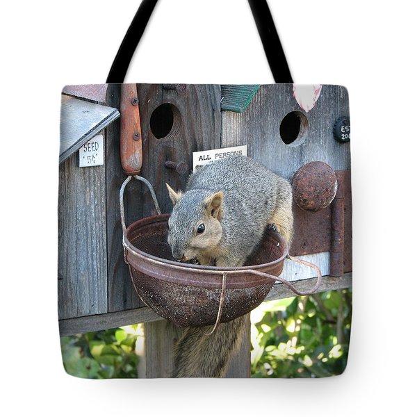 Squirrel Feeding Tote Bag