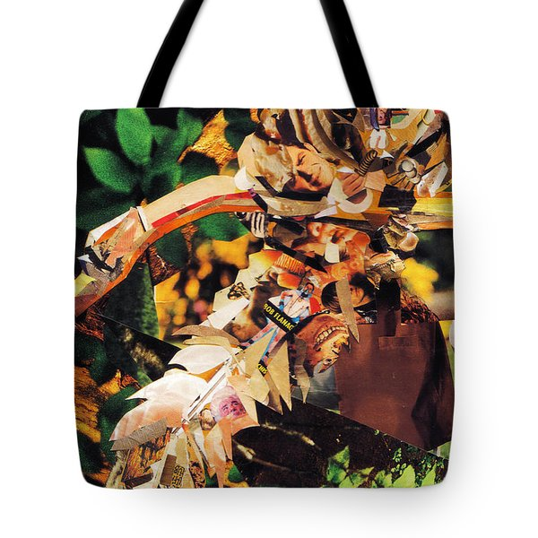 Tote Bag featuring the mixed media Squirrel Glider Collage by Shawna Rowe