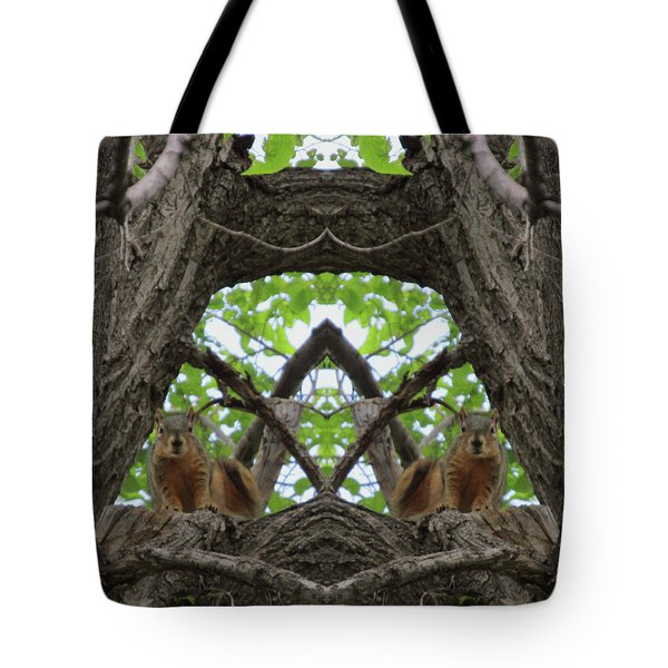Squirrel Guardians Of The Doorway To A Green World Tote Bag