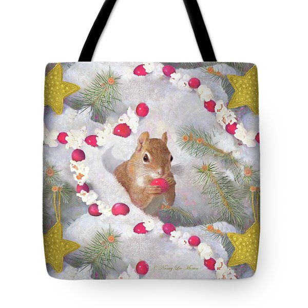 Tote Bag featuring the painting Squirrel In Snow With Cranberries by Nancy Lee Moran