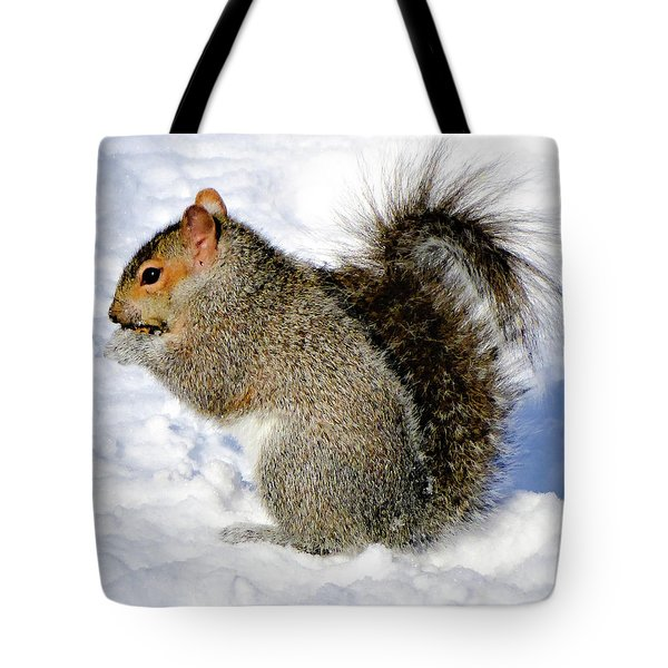 Squirrel In Winter Tote Bag