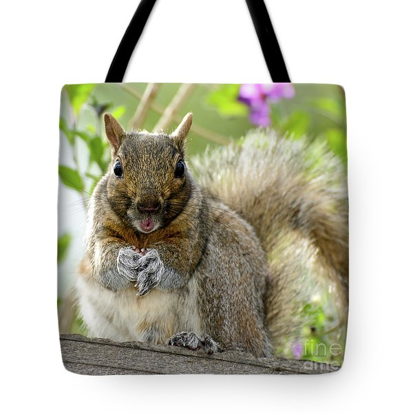 Tote Bag featuring the photograph Squirrel Ready To Whistle by Susan Wiedmann