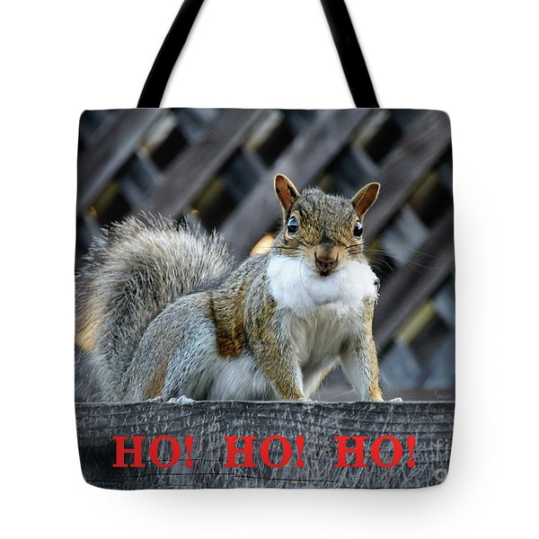 Tote Bag featuring the photograph Squirrel Santa Ho Ho Ho by Susan Wiedmann