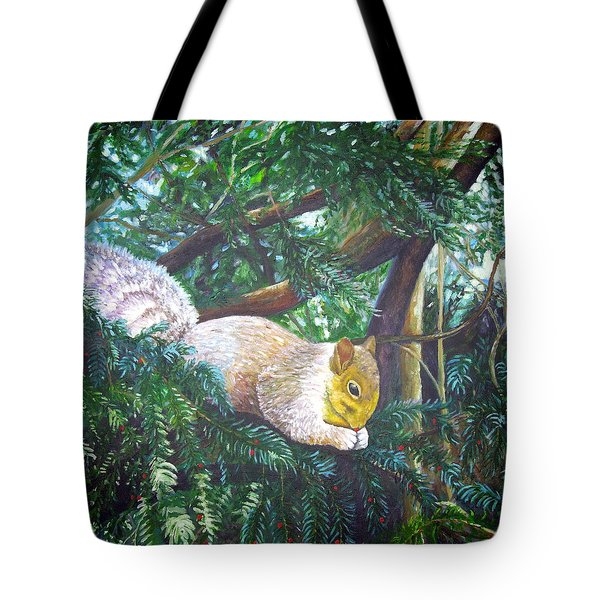 Squirrel Snacking Tote Bag