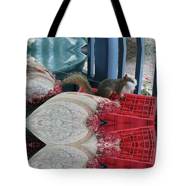 Squirrel Stealing Stuffing For A Nest Tote Bag