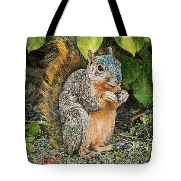 Squirrel Under Bush Tote Bag
