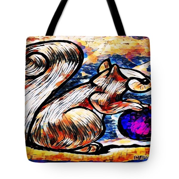 Squirrel With Christmas Ornament Tote Bag
