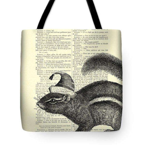 Squirrel With Hat Tote Bag