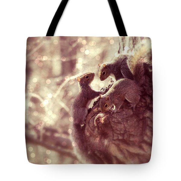Squirrels - A Family Affair II Tote Bag by Aurelio Zucco