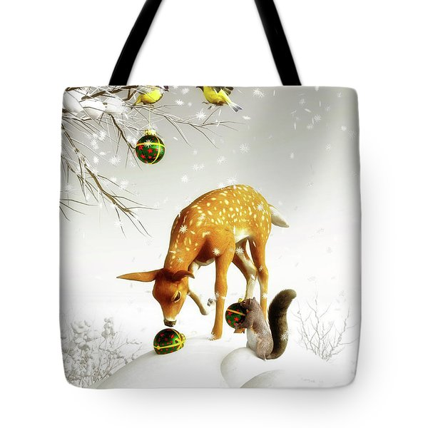 Squirrels And Deer Christmas Time Tote Bag