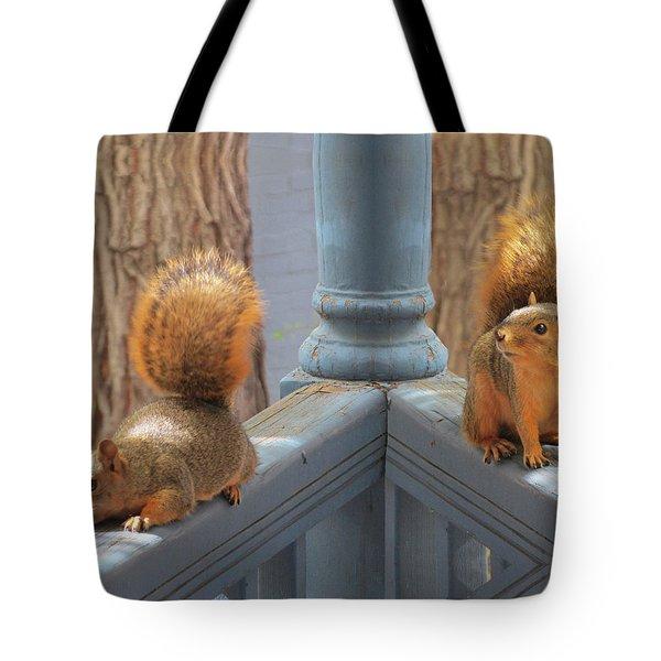 Squirrels Balancing On A Railing Tote Bag