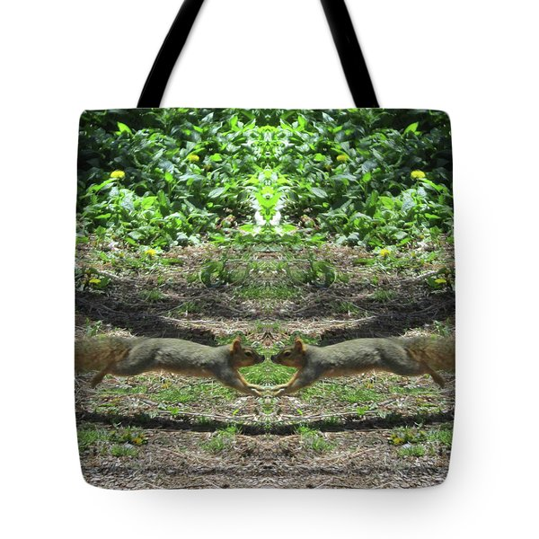 Squirrels Coming Together For A Kiss Tote Bag