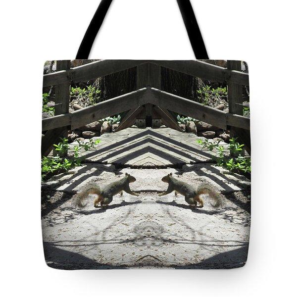 Squirrels Dancing On A Bridge Tote Bag