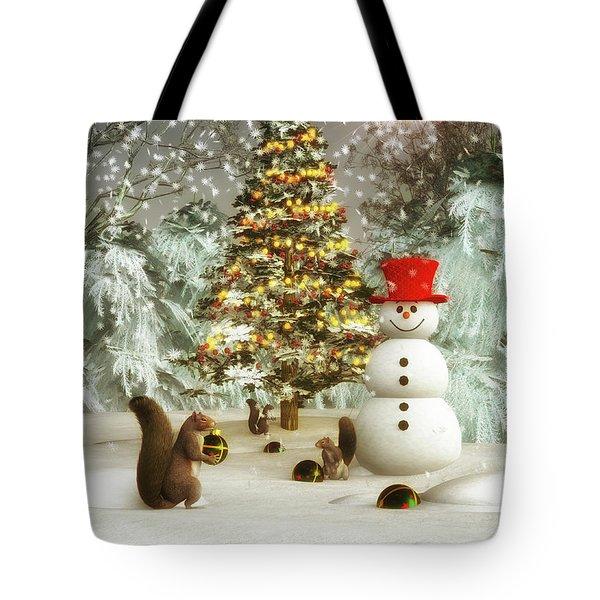 Squirrels Decorating Christmas Tote Bag
