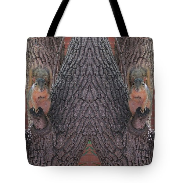 Squirrels In A Tree With Hands On Their Hearts Tote Bag