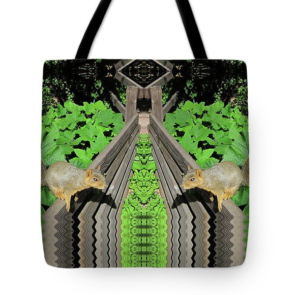 Squirrels On Fence In Surreal World Tote Bag