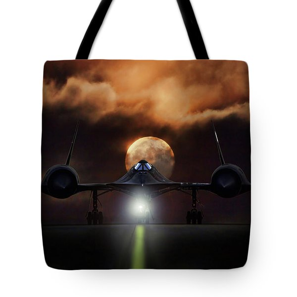 Tote Bag featuring the digital art Sr-71 Supermoon by Peter Chilelli