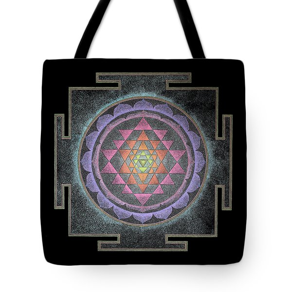 Tote Bag featuring the painting Sri Yantra by Keiko Katsuta