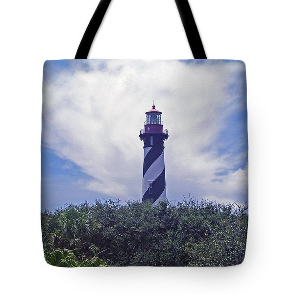 St Augustine Light On The Atlantic Coast Of Florida Tote Bag by Allan  Hughes