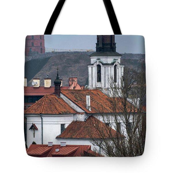 St Bartholomew And Vilnius Castle Tote Bag