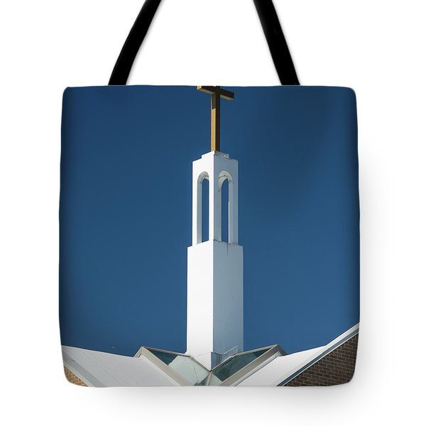Tote Bag featuring the photograph St Benedicts Church Rooftop by Gary Slawsky