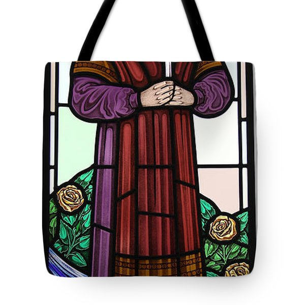 Tote Bag featuring the glass art Saint Bernadette  by Gilroy Stained Glass