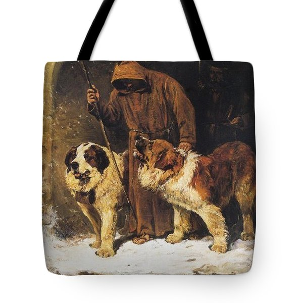 Tote Bag featuring the painting St. Bernards To The Rescue by John Emms