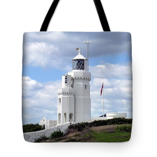 St. Catherine's Lighthouse On The Isle Of Wight Tote Bag by Carla Parris