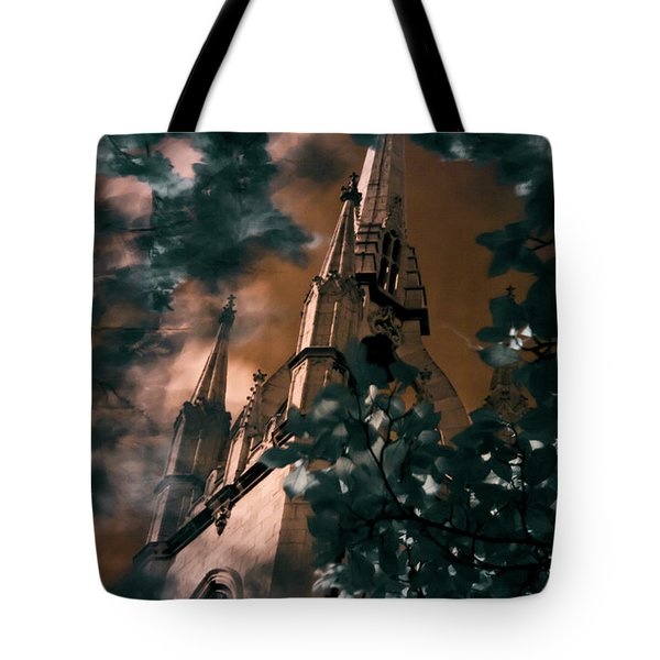 Tote Bag featuring the photograph St Dunstan In The East Tower by Helga Novelli