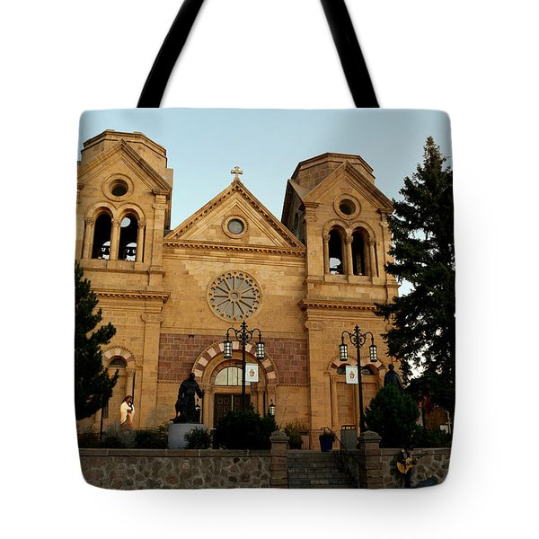 St Frances Basilica Santa Fe New Mexico With A Lone Singer  Tote Bag
