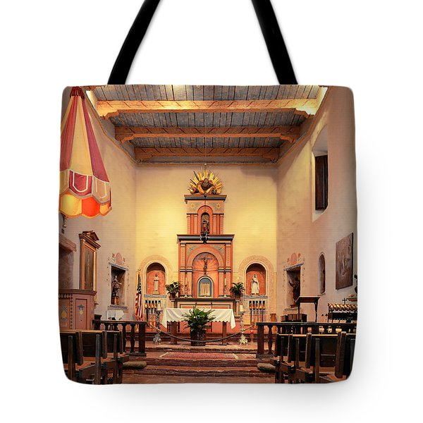 Tote Bag featuring the photograph St Francis Chapel At Mission San Diego by Christine Till