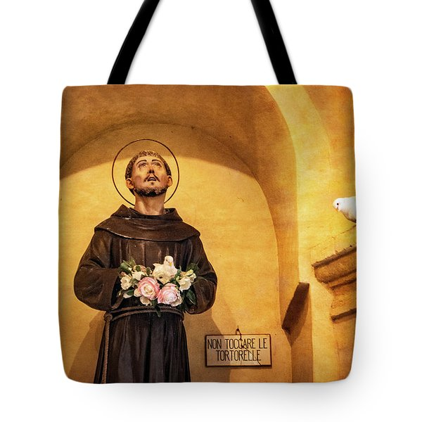St. Francis Statue And Live Doves Tote Bag