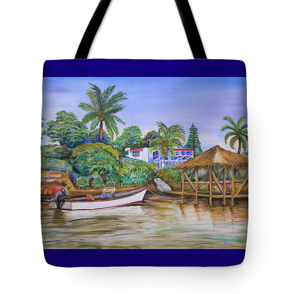 Tote Bag featuring the painting St. George Harbor by Patricia Piffath