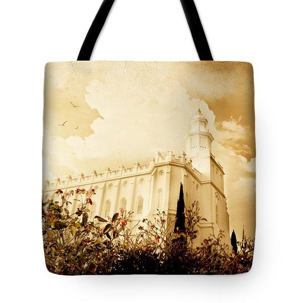 St George Temple Roses Tote Bag by La Rae  Roberts