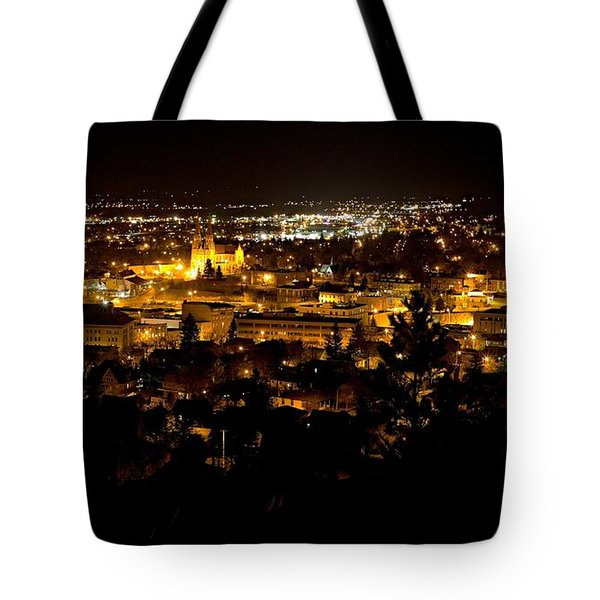 Tote Bag featuring the photograph St Helena Cathedral And Helena By Night by Dutch Bieber