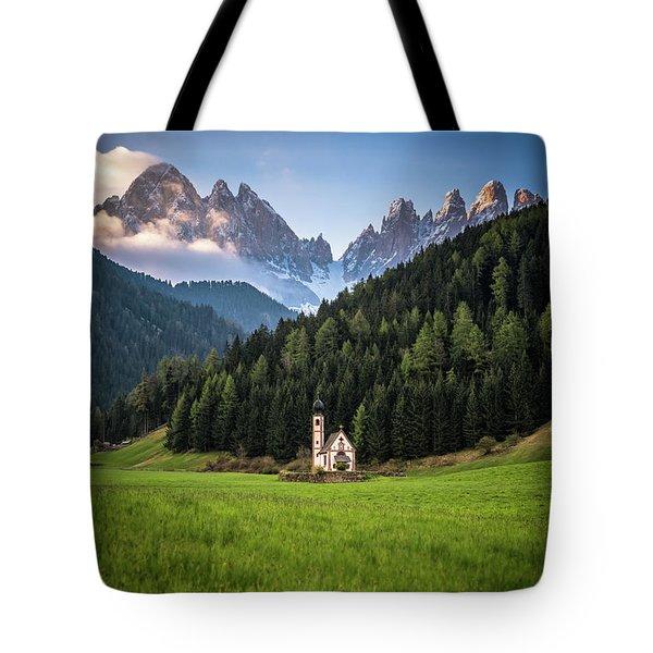 St. Johann Church In Val Di Funes Tote Bag