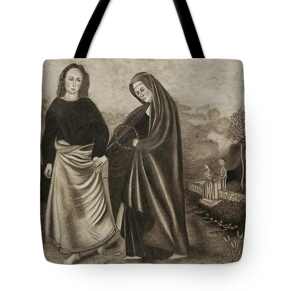 St. John And Blessed Mother At The Tomb Tote Bag