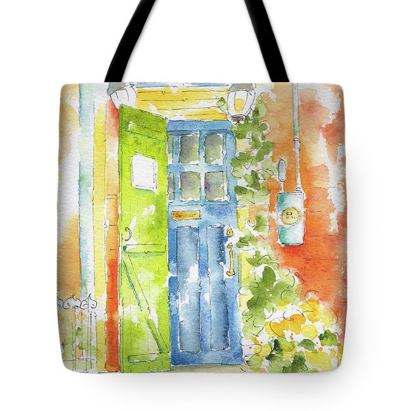 Tote Bag featuring the painting St Johns Jelly Bean At 8 Wood Street by Pat Katz