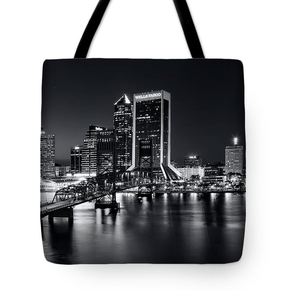St Johns River Skyline By Night, Jacksonville, Florida In Black And White Tote Bag
