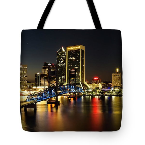 St Johns River Skyline By Night, Jacksonville, Florida Tote Bag