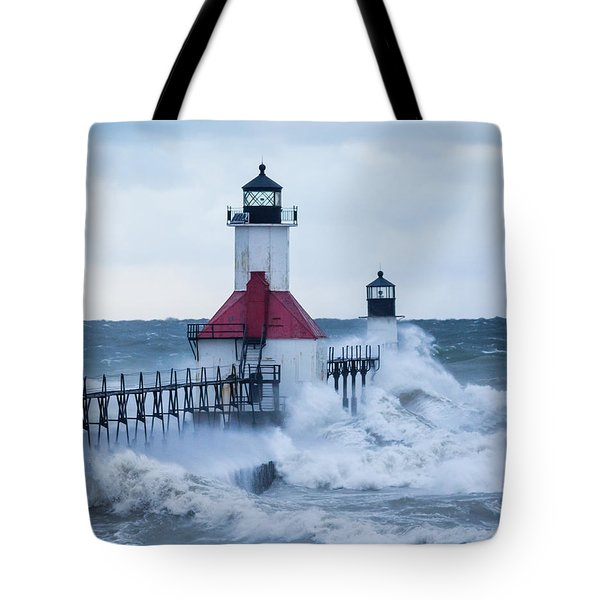 St. Joseph Lighthouse With Waves Tote Bag