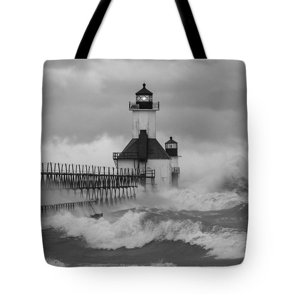 St. Joseph North Pier Lighthouse Tote Bag