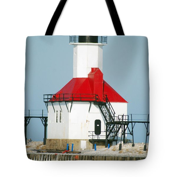 St Joseph North Pier Lights Tote Bag by Michael Peychich